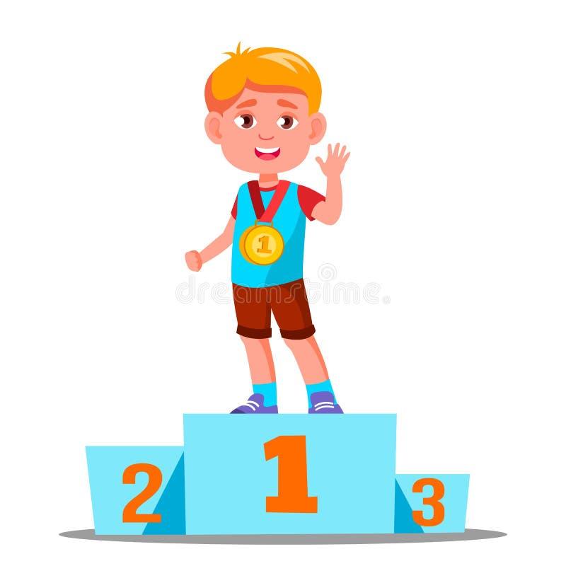 Ευτυχή παιδιά σε ένα αθλητικό βάθρο με το διάνυσμα χρυσών μεταλλίων ανταγωνισμός απομονωμένη ωθώντας s κουμπιών γυναίκα έναρξης χ διανυσματική απεικόνιση