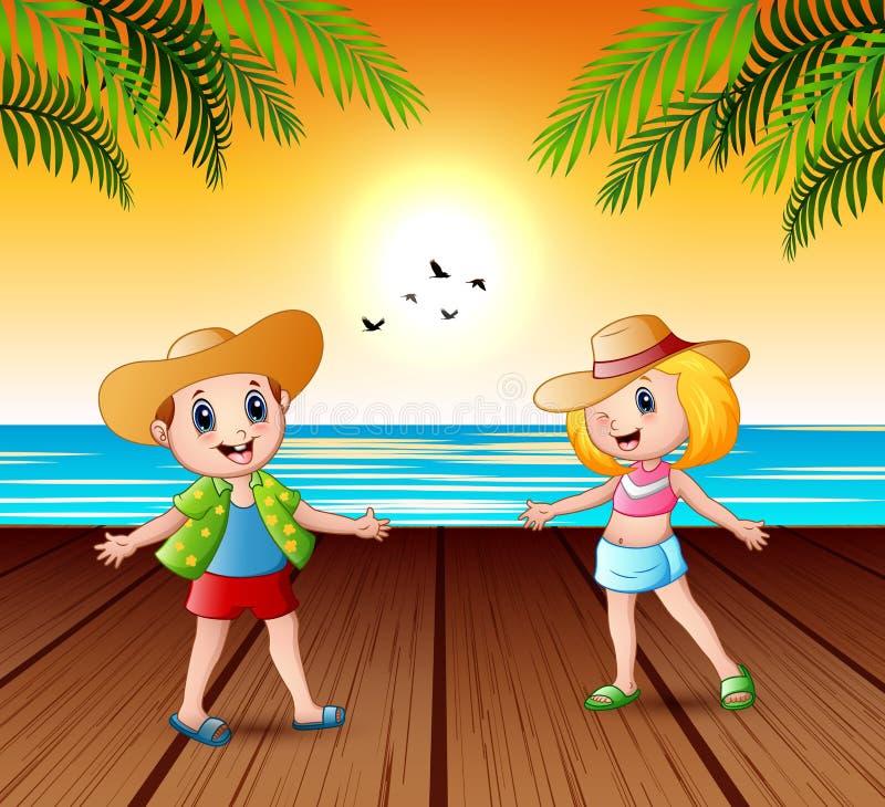 Ευτυχή παιδιά στην αποβάθρα και να φανεί ένα τοπίο ηλιοβασιλέματος ελεύθερη απεικόνιση δικαιώματος