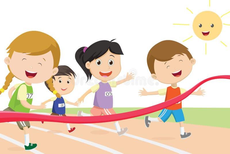 Ευτυχή παιδιά sprinter που έρχονται πρώτα στη γραμμή τερματισμού ελεύθερη απεικόνιση δικαιώματος