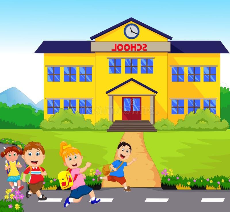 Ευτυχή παιδάκια που πηγαίνουν στο σχολείο ελεύθερη απεικόνιση δικαιώματος
