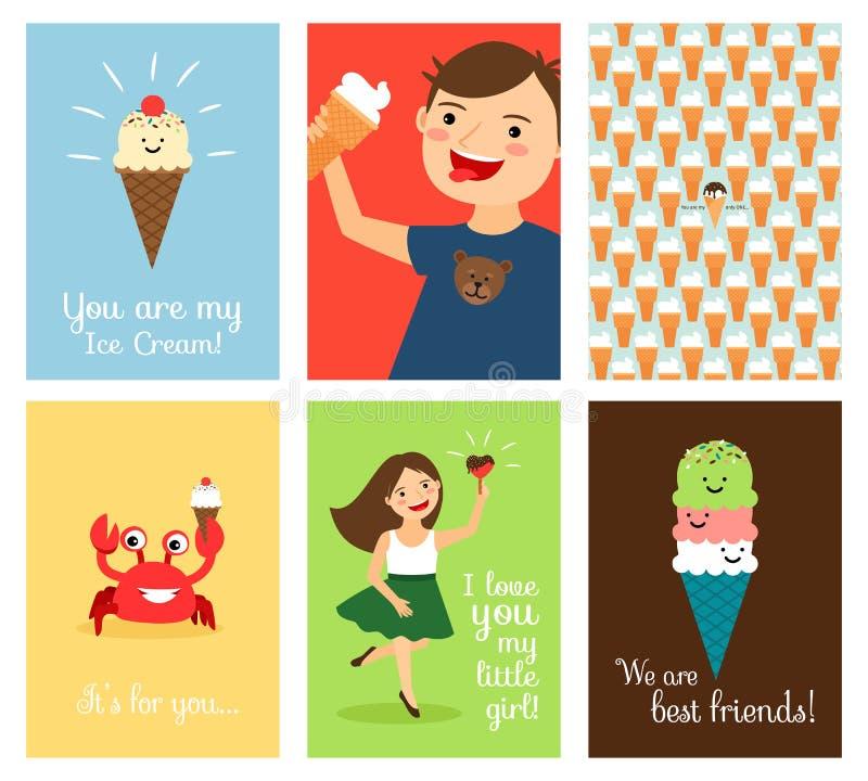 Ευτυχή παιδιά με το παγωτό ελεύθερη απεικόνιση δικαιώματος