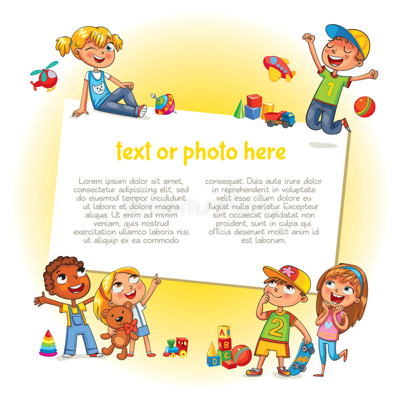 Ευτυχή παιδιά που κρατούν την κενή αφίσα διανυσματική απεικόνιση