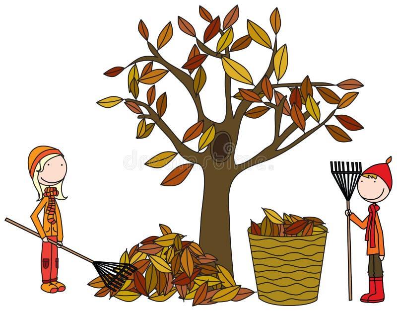 Ευτυχή παιδιά που μαζεύουν με τη τσουγκράνα τα φύλλα ελεύθερη απεικόνιση δικαιώματος
