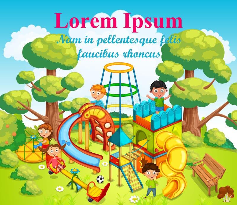 Ευτυχή παιδιά που παίζουν και που έχουν τη διασκέδαση στην παιδική χαρά στη μέση του πάρκου απεικόνιση αποθεμάτων