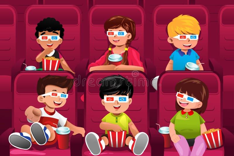 Ευτυχή παιδιά που πηγαίνουν σε έναν κινηματογράφο απεικόνιση αποθεμάτων