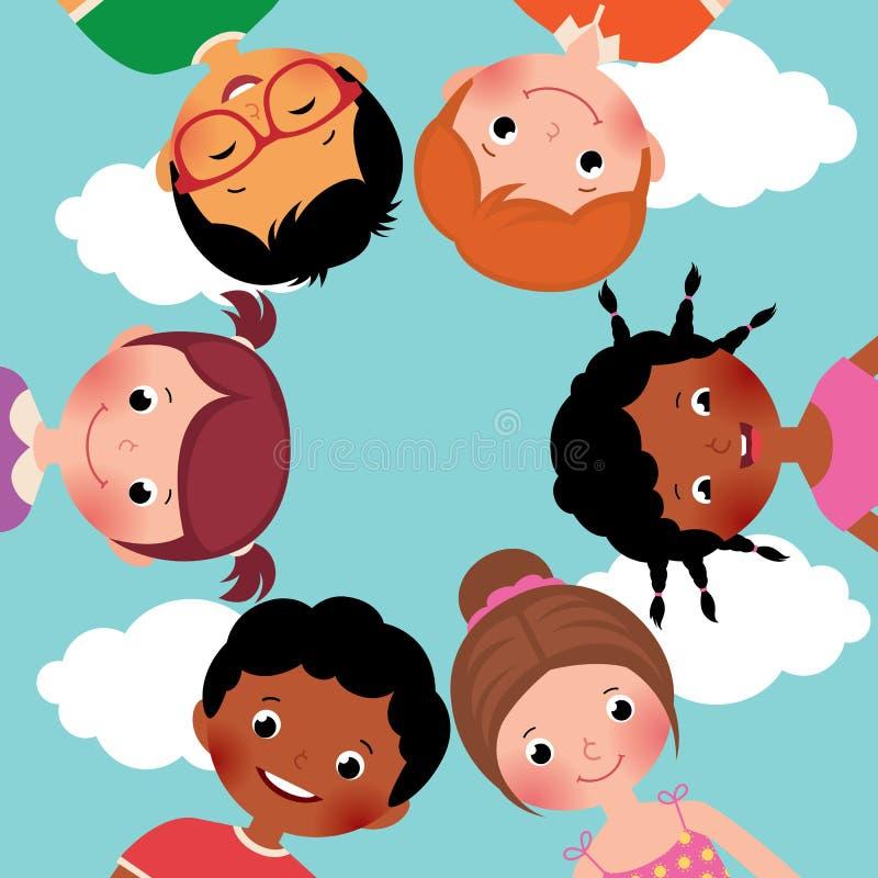 Ευτυχή παιδιά σε έναν κύκλο ελεύθερη απεικόνιση δικαιώματος