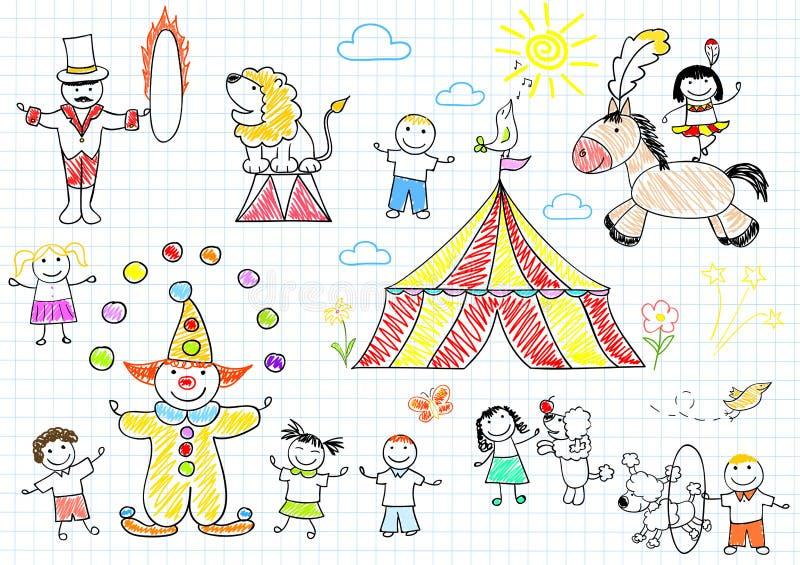 Ευτυχή παιδιά στο τσίρκο απεικόνιση αποθεμάτων