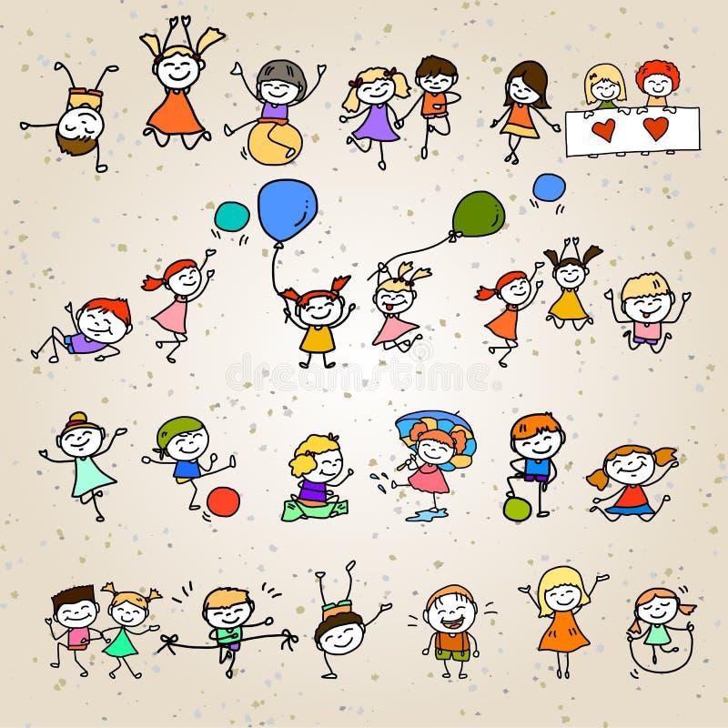 Ευτυχή παιδιά χαρακτήρα κινουμένων σχεδίων σχεδίων χεριών διανυσματική απεικόνιση