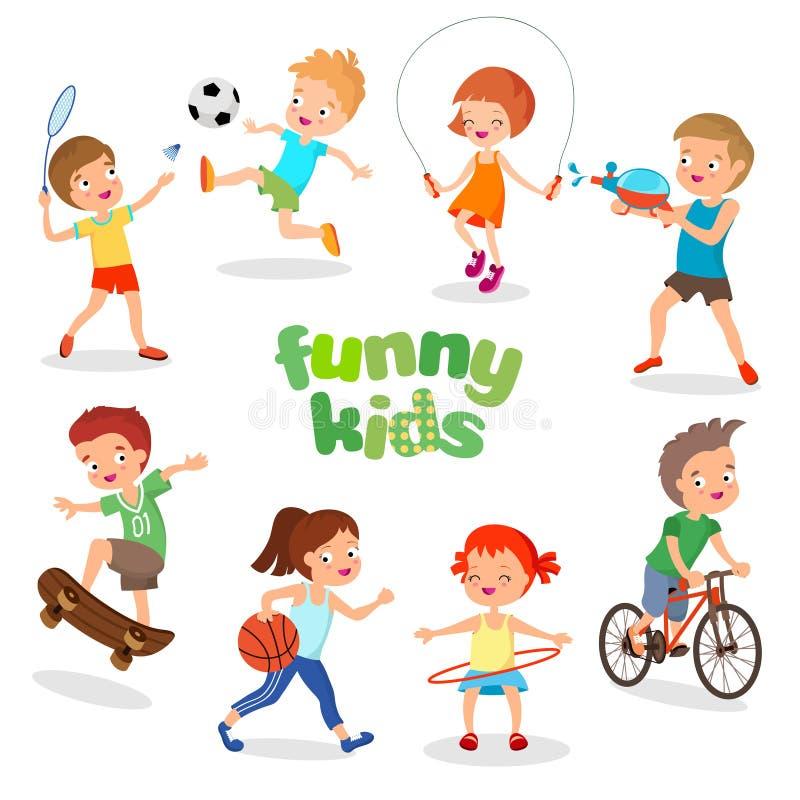 Ευτυχή παιδιά Uniformed που παίζουν τον αθλητισμό Ενεργοί διανυσματικοί χαρακτήρες παιδιών διανυσματική απεικόνιση