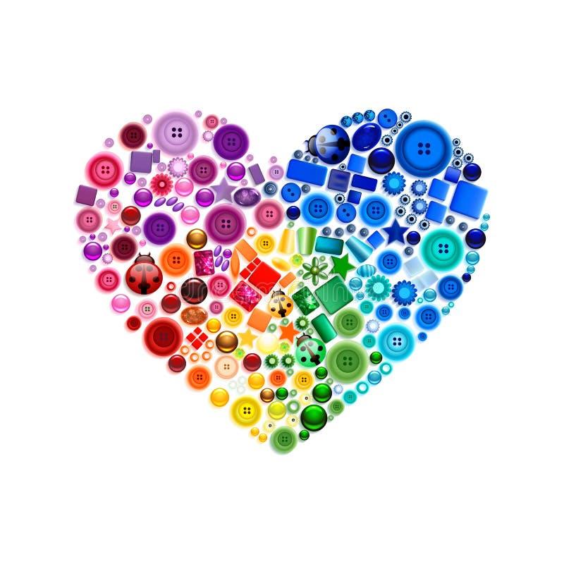 Ευτυχή πολύχρωμα κουμπιά ντεκόρ καρδιών ημέρας βαλεντίνων, χάντρες, πολύτιμοι λίθοι, μαργαριτάρι, κόσμημα απεικόνιση αποθεμάτων