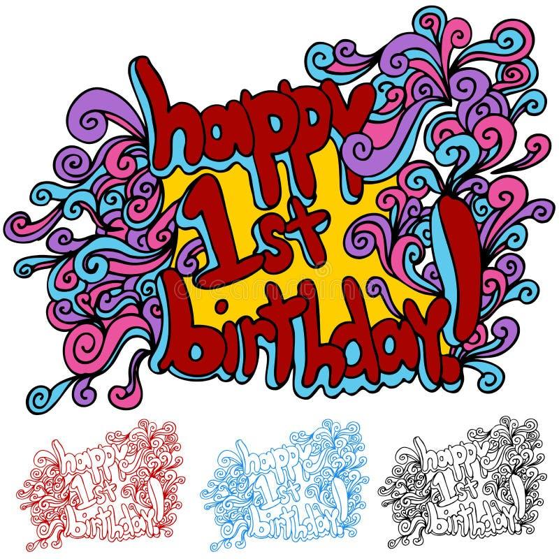 Ευτυχή πρώτα γενέθλια ελεύθερη απεικόνιση δικαιώματος