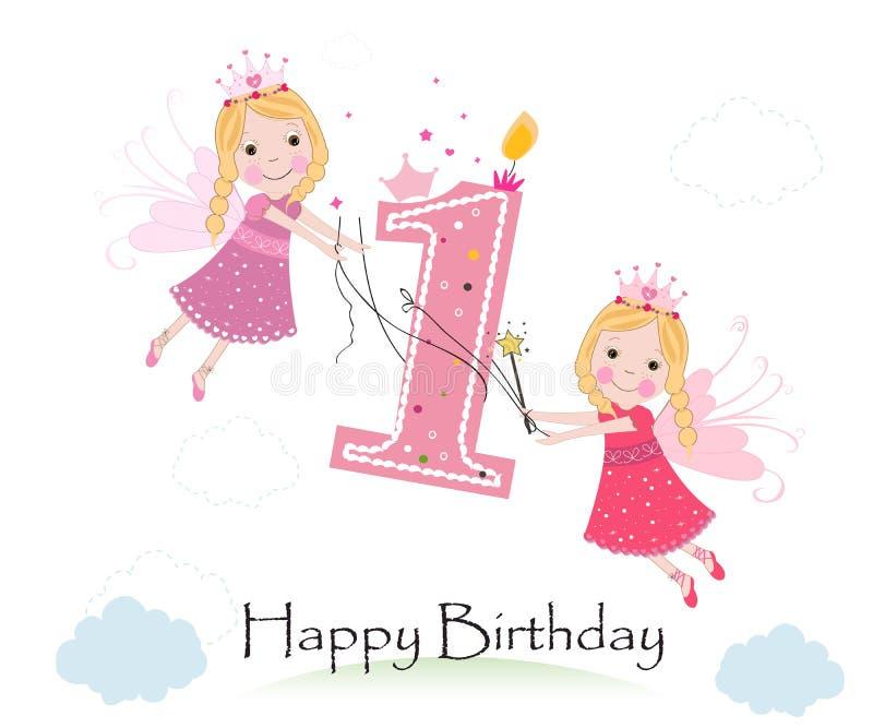 Ευτυχή πρώτα γενέθλια με το χαριτωμένο διάνυσμα ευχετήριων καρτών παραμυθιού ελεύθερη απεικόνιση δικαιώματος