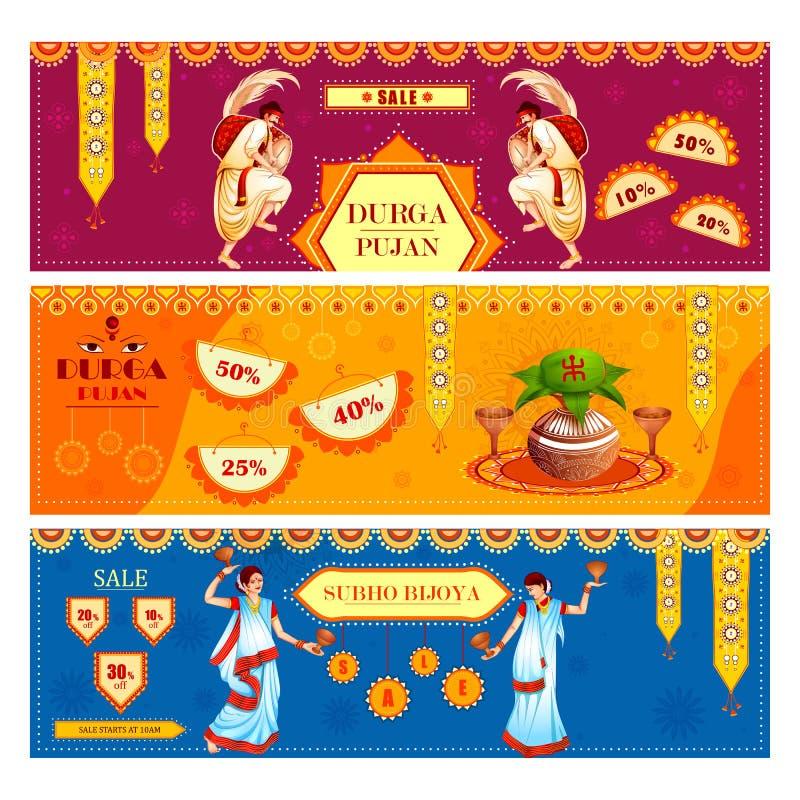 Ευτυχή πώληση φεστιβάλ Durga Puja και υπόβαθρο προώθησης για την Ινδία διακοπές Dussehra ελεύθερη απεικόνιση δικαιώματος