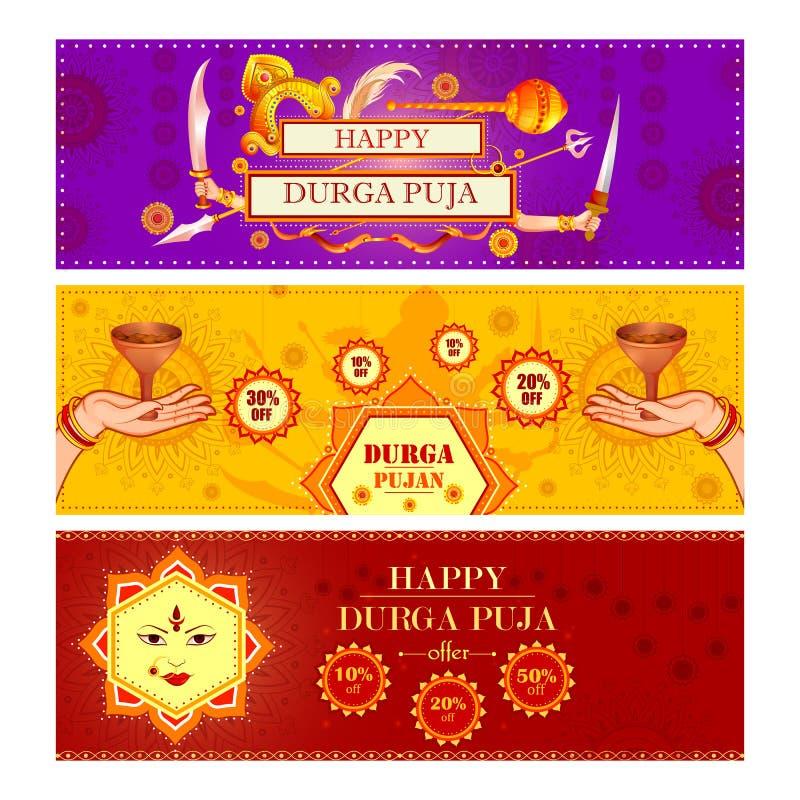 Ευτυχή πώληση φεστιβάλ Durga Puja και υπόβαθρο προώθησης για την Ινδία διακοπές Dussehra απεικόνιση αποθεμάτων