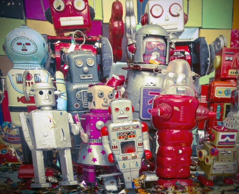 Ευτυχή ρομπότ που έχουν τη διασκέδαση στοκ φωτογραφία