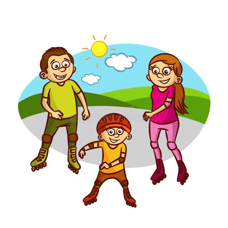 Ευτυχή σαλάχια οικογενειακών κυλίνδρων διανυσματική απεικόνιση