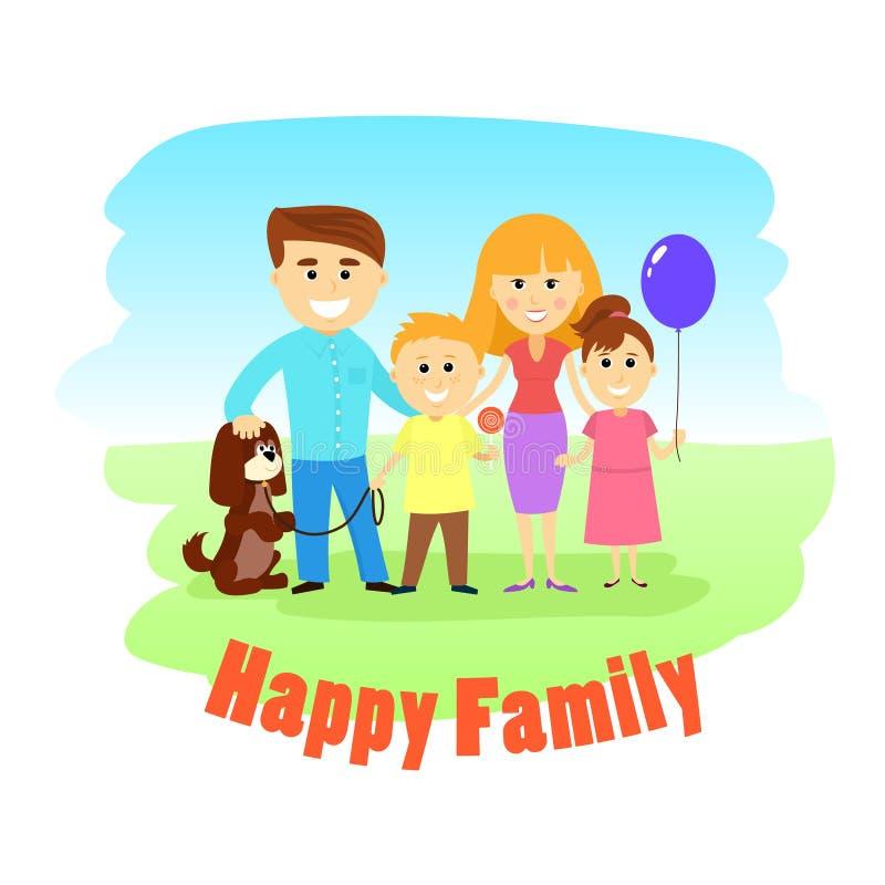 Ευτυχή τετραμελής οικογένεια και σκυλί, που θέτουν μαζί, απεικόνιση ελεύθερη απεικόνιση δικαιώματος