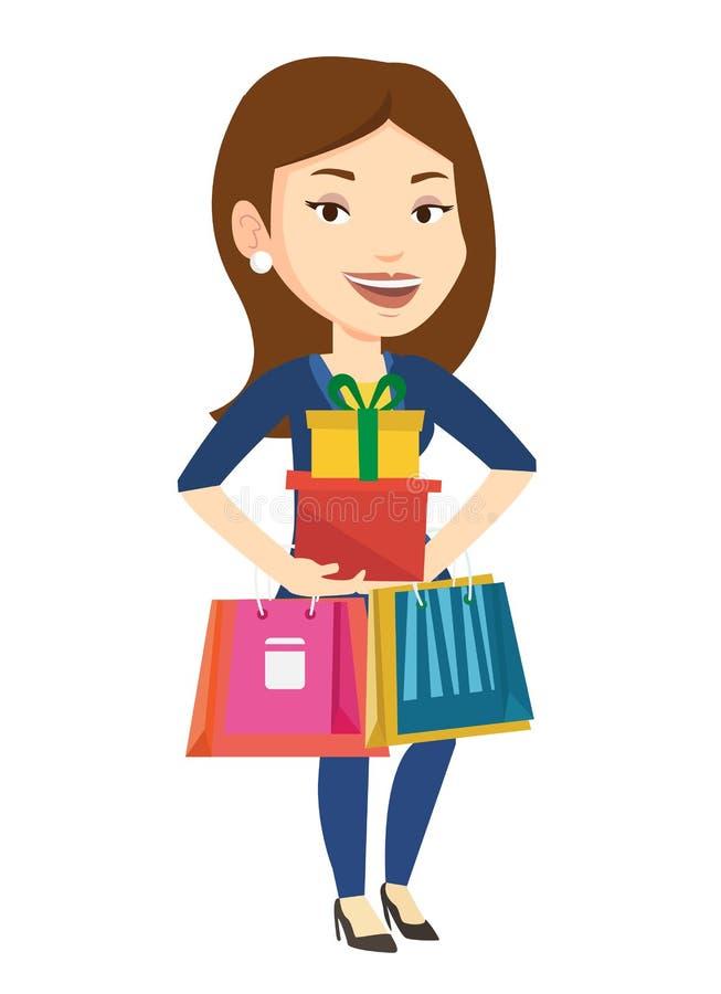 Ευτυχή τσάντες αγορών εκμετάλλευσης γυναικών και κιβώτια δώρων απεικόνιση αποθεμάτων
