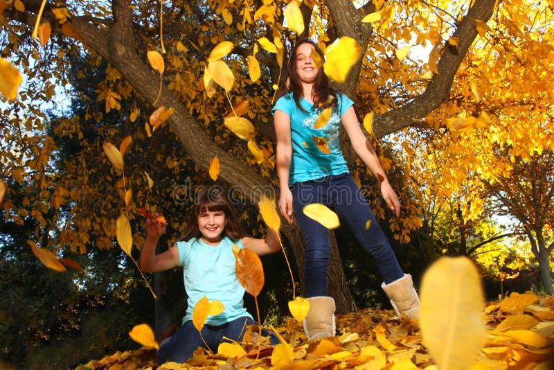 ευτυχή φύλλα πτώσης παιδι στοκ φωτογραφία με δικαίωμα ελεύθερης χρήσης