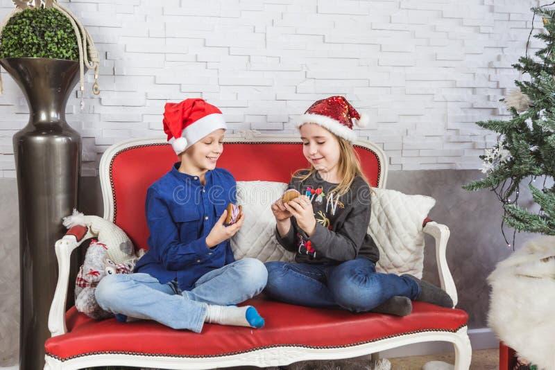 Ευτυχή χαριτωμένα παιδάκια στα καπέλα Santa που τρώνε τα εύγευστα μπισκότα στο σπίτι στοκ φωτογραφία με δικαίωμα ελεύθερης χρήσης