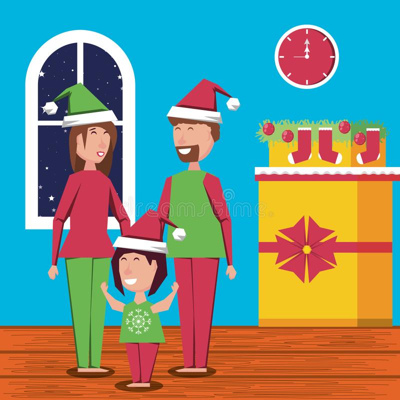 Ευτυχή Χριστούγεννα οικογενειακού εορτασμού στο εσωτερικό ελεύθερη απεικόνιση δικαιώματος