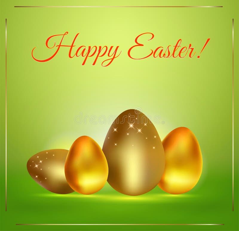 Ευτυχή χρυσά αυγά Πάσχας στο πράσινο υπόβαθρο, κάρτα απεικόνιση αποθεμάτων