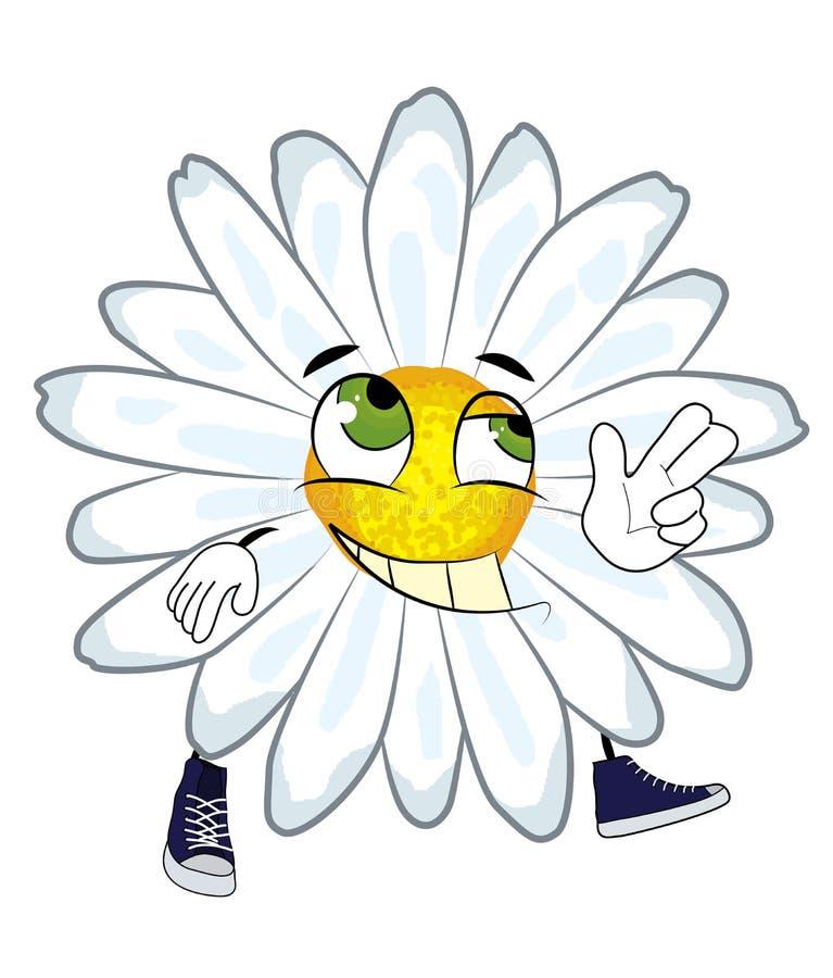 Ευτυχή chamomile κινούμενα σχέδια λουλουδιών απεικόνιση αποθεμάτων