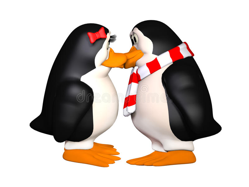 Ευτυχή pinguins ερωτευμένα διανυσματική απεικόνιση