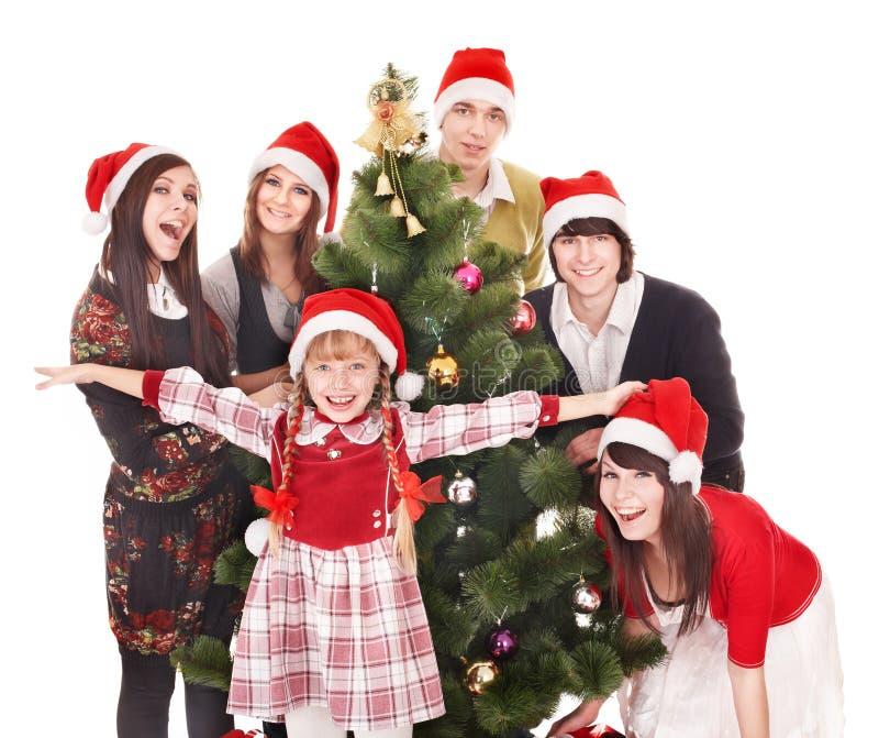 Ευτυχείς άνθρωποι ομάδας στο καπέλο santa. στοκ εικόνες με δικαίωμα ελεύθερης χρήσης