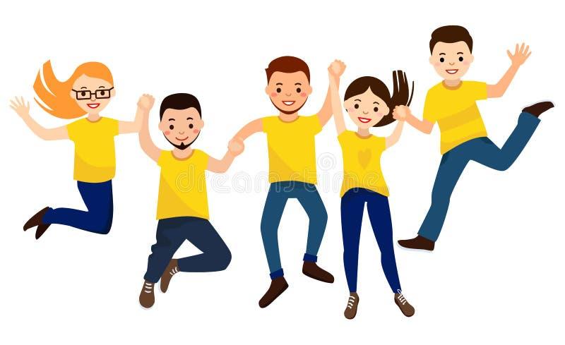 Ευτυχείς άνθρωποι στις κίτρινες μπλούζες που πηδούν τη νίκη εορτασμού διανυσματική απεικόνιση