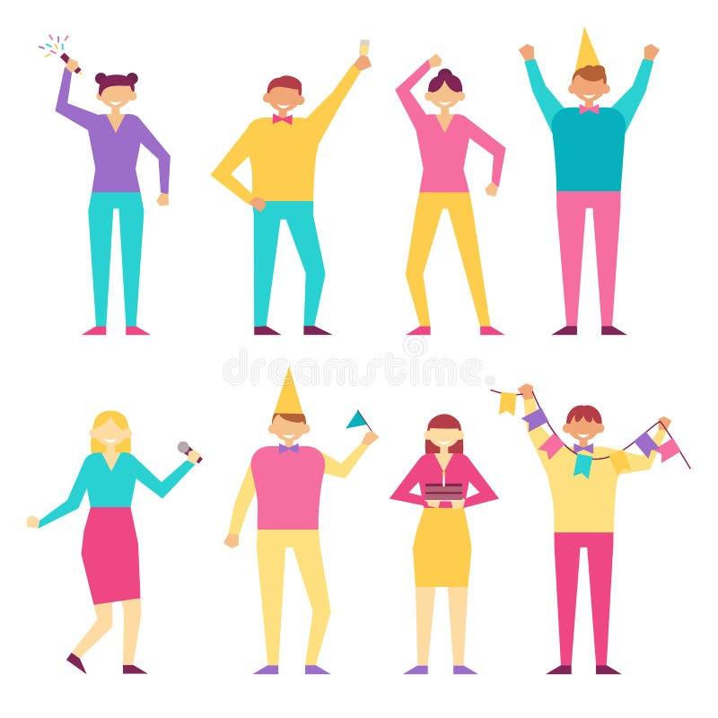 Ευτυχείς άνθρωποι στο διάνυσμα γιορτής γενεθλίων που απομονώνεται διανυσματική απεικόνιση