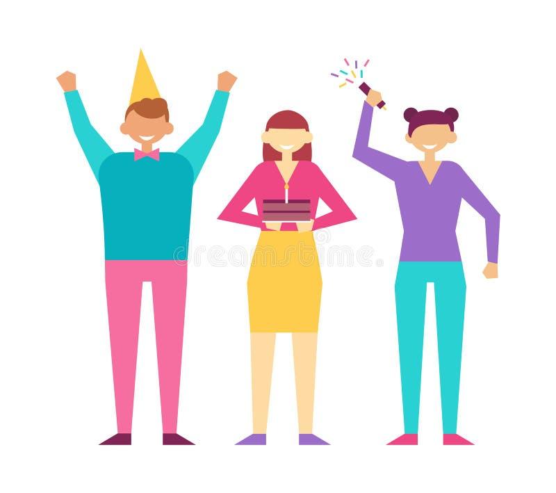 Ευτυχείς άνθρωποι στο διάνυσμα γιορτής γενεθλίων που απομονώνεται ελεύθερη απεικόνιση δικαιώματος
