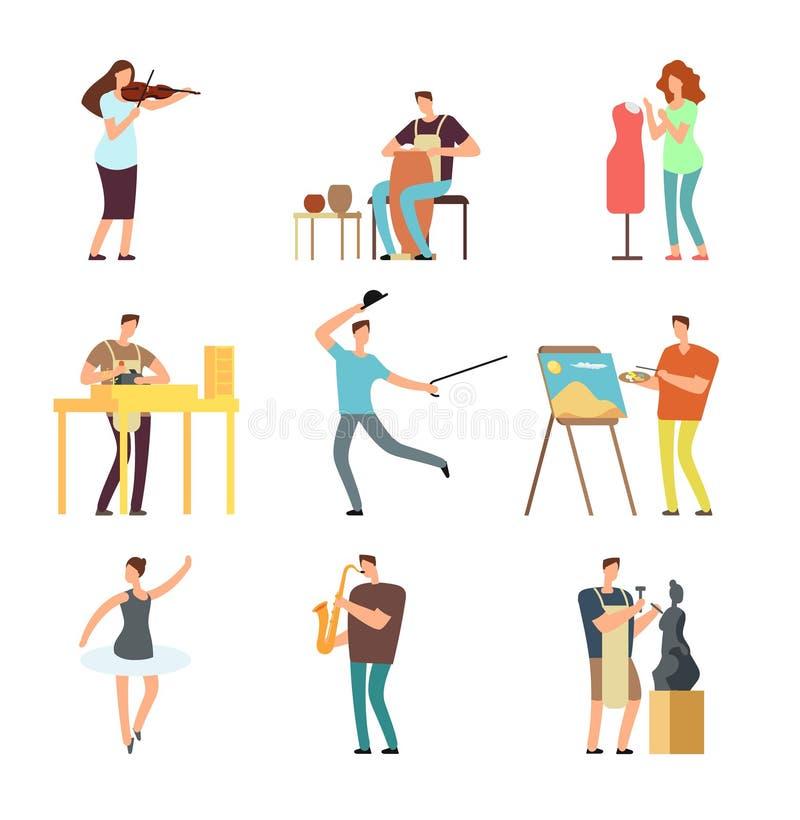 Ευτυχείς άνθρωποι της τέχνης και της μουσικής Απομονωμένοι διάνυσμα χαρακτήρες καλλιτεχνών και μουσικών κινούμενων σχεδίων στα δη ελεύθερη απεικόνιση δικαιώματος