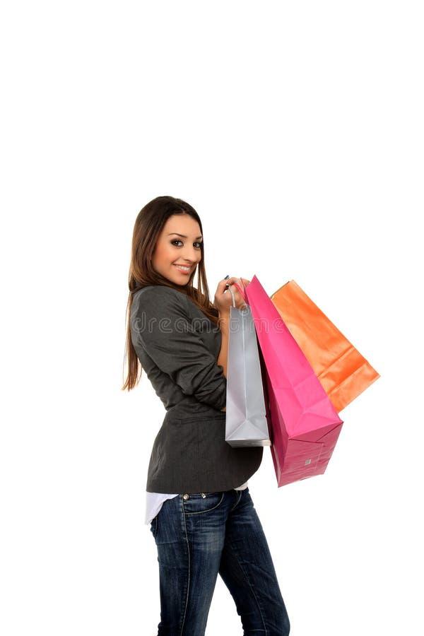 Download ευτυχείς αγορές εκμετάλλευσης κοριτσιών τσαντών Στοκ Εικόνα - εικόνα από ευτυχής, jean: 22777427