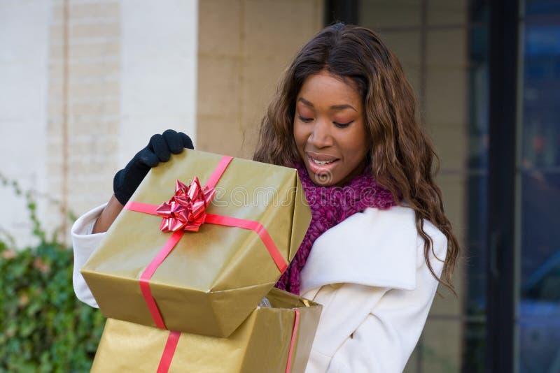 Ευτυχείς αγορές Χριστουγέννων γυναικών στοκ εικόνα με δικαίωμα ελεύθερης χρήσης