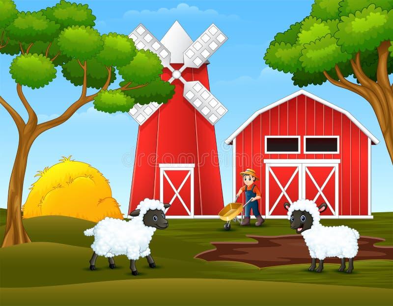 Ευτυχείς αγρότης και πρόβατα κινούμενων σχεδίων στο αγρόκτημα ελεύθερη απεικόνιση δικαιώματος