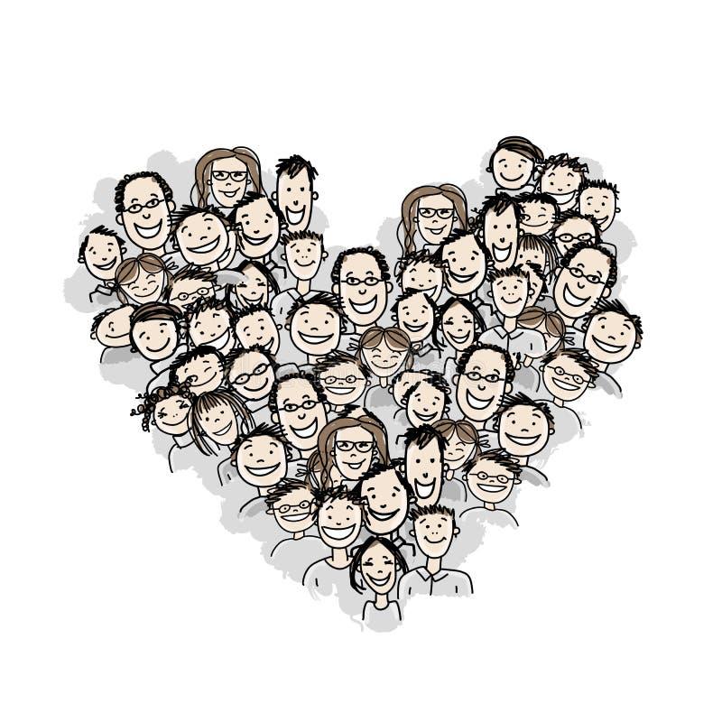 Ευτυχείς λαοί, μορφή καρδιών για το σχέδιό σας διανυσματική απεικόνιση