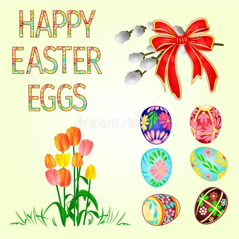 Ευτυχείς αυγά Πάσχας διακοσμήσεων Πάσχας και τουλίπες στην πράσινα χλόη, τη γάτα willov και το τόξο Εποχιακές διακοπές τον Απρίλι απεικόνιση αποθεμάτων
