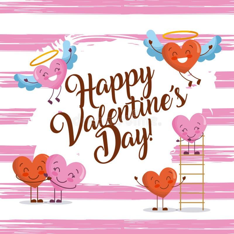 Ευτυχείς βαλεντίνων ημέρας καρτών χαρακτήρες καρδιών αγάπης πρόσκλησης χαριτωμένοι ελεύθερη απεικόνιση δικαιώματος