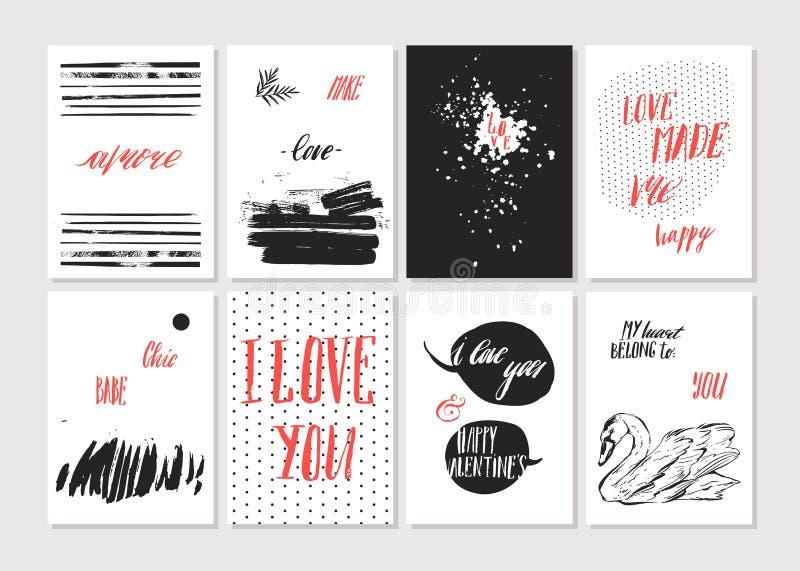 ευτυχείς βαλεντίνοι ημέ&rho Σύνολο ρομαντικής ευχετήριας κάρτας βαλεντίνων, πρόσκληση, πρότυπα σχεδίου αφισών Αγάπη διανυσματική απεικόνιση