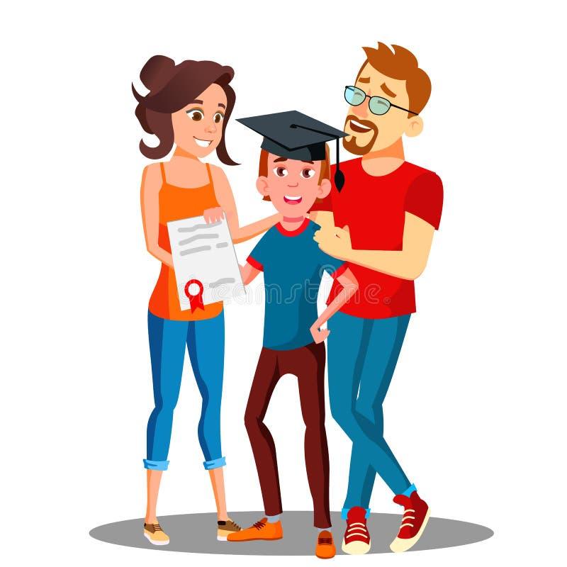 Ευτυχείς γονείς που στέκονται πίσω από το σπουδαστή με το δίπλωμα και το διαβαθμισμένο διάνυσμα ΚΑΠ απομονωμένη ωθώντας s κουμπιώ διανυσματική απεικόνιση
