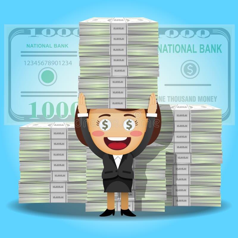 Ευτυχείς γυναίκα και σωρός των μεγάλων τραπεζογραμματίων δολαρίων ελεύθερη απεικόνιση δικαιώματος