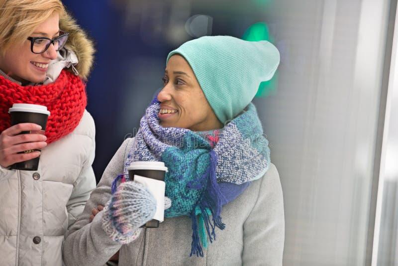 Ευτυχείς γυναίκες που εξετάζουν η μια την άλλη κρατώντας τα μίας χρήσης φλυτζάνια στοκ εικόνα