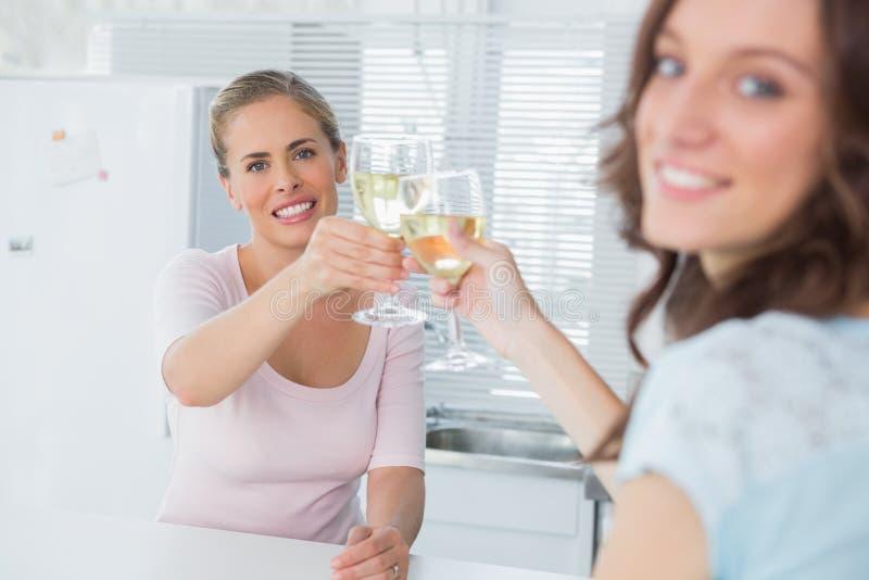 Ευτυχείς γυναίκες που κρατούν τα ποτήρια του άσπρου κρασιού στοκ εικόνα