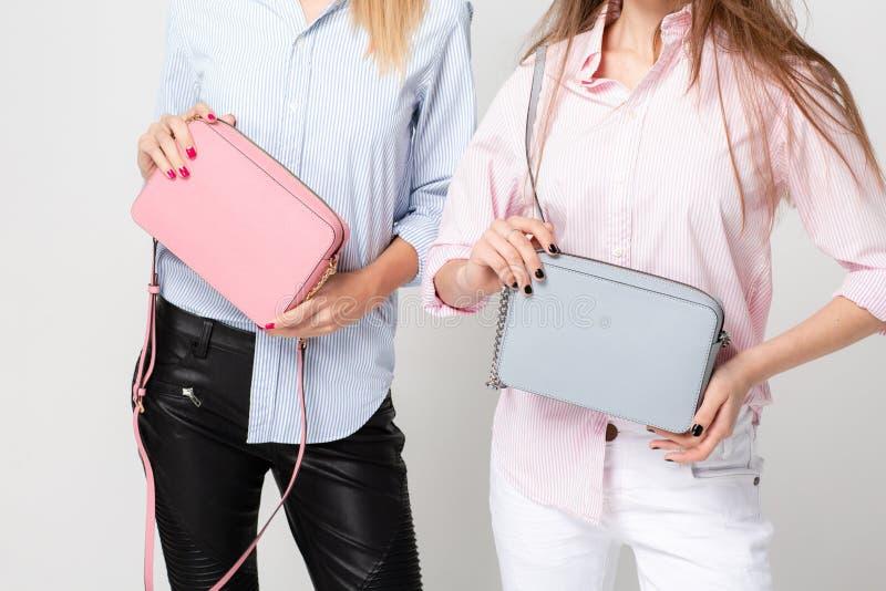 Ευτυχείς γυναίκες φίλων στα πουκάμισα με τις μοντέρνες τσάντες Εικόνα άνοιξη μόδας δύο αδελφών Ροζ και μπλε κρητιδογραφιών στοκ φωτογραφίες με δικαίωμα ελεύθερης χρήσης
