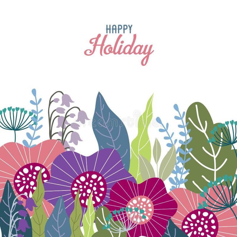 ευτυχείς διακοπές Το Floral χέρι σύρει την έννοια σχεδίου, χαριτωμένα λουλούδια τομέων σε ένα άσπρο υπόβαθρο, διάνυσμα απεικόνιση αποθεμάτων