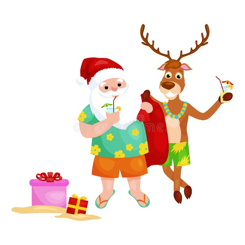 Ευτυχείς ελάφια και Άγιος Βασίλης που παίρνουν έτοιμοι για το κόμμα Χριστουγέννων διανυσματική απεικόνιση