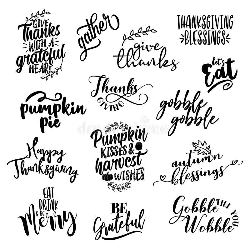 Ευτυχείς επικαλύψεις ημέρας των ευχαριστιών, σύνολο σχεδίου ετικετών εγγραφής ελεύθερη απεικόνιση δικαιώματος