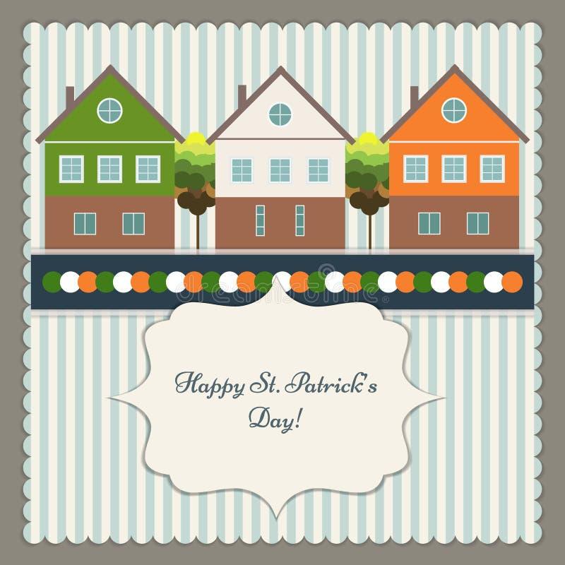 Ευτυχείς ευχετήρια κάρτα/αφίσα ημέρας του ST Πάτρικ ` s διανυσματική απεικόνιση