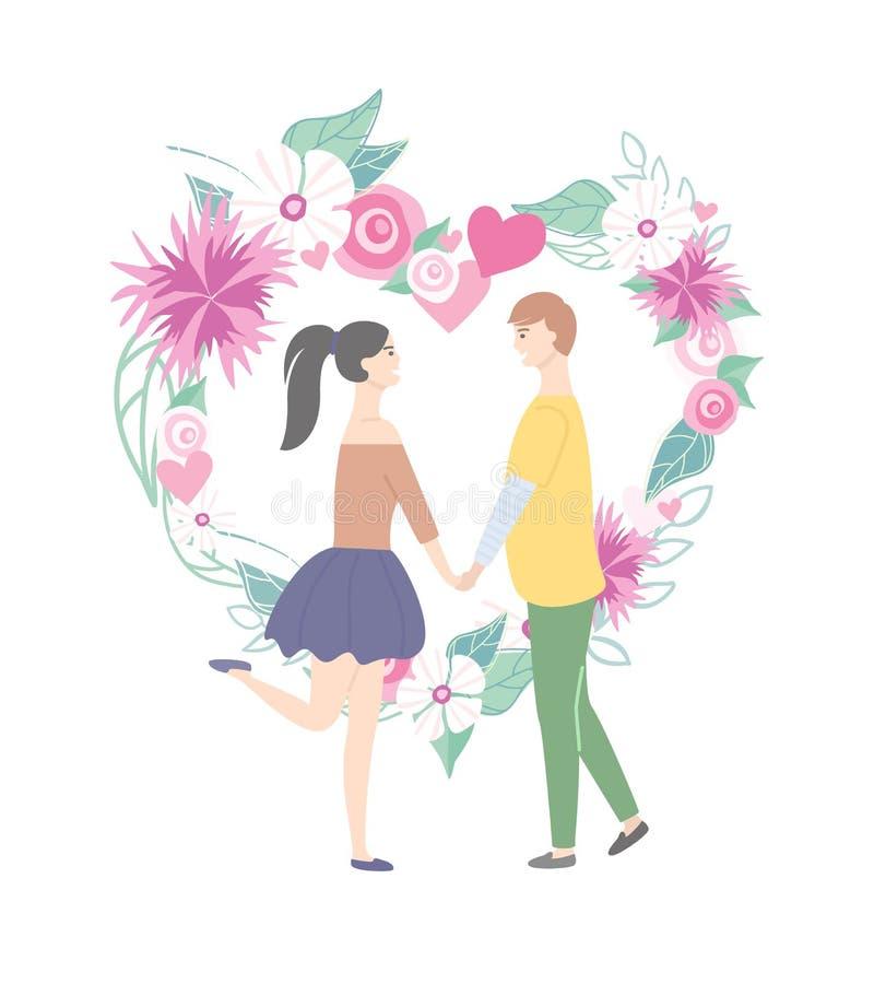 Ευτυχείς ζεύγος και καρδιά με τα λουλούδια, διάνυσμα αγάπης διανυσματική απεικόνιση